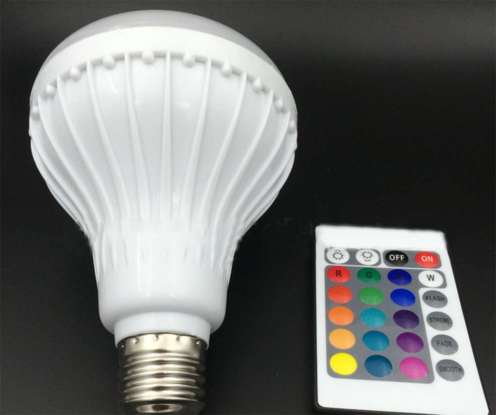 Wireless Remote Control Powered LED Bulb Light Bluetooth Speaker
