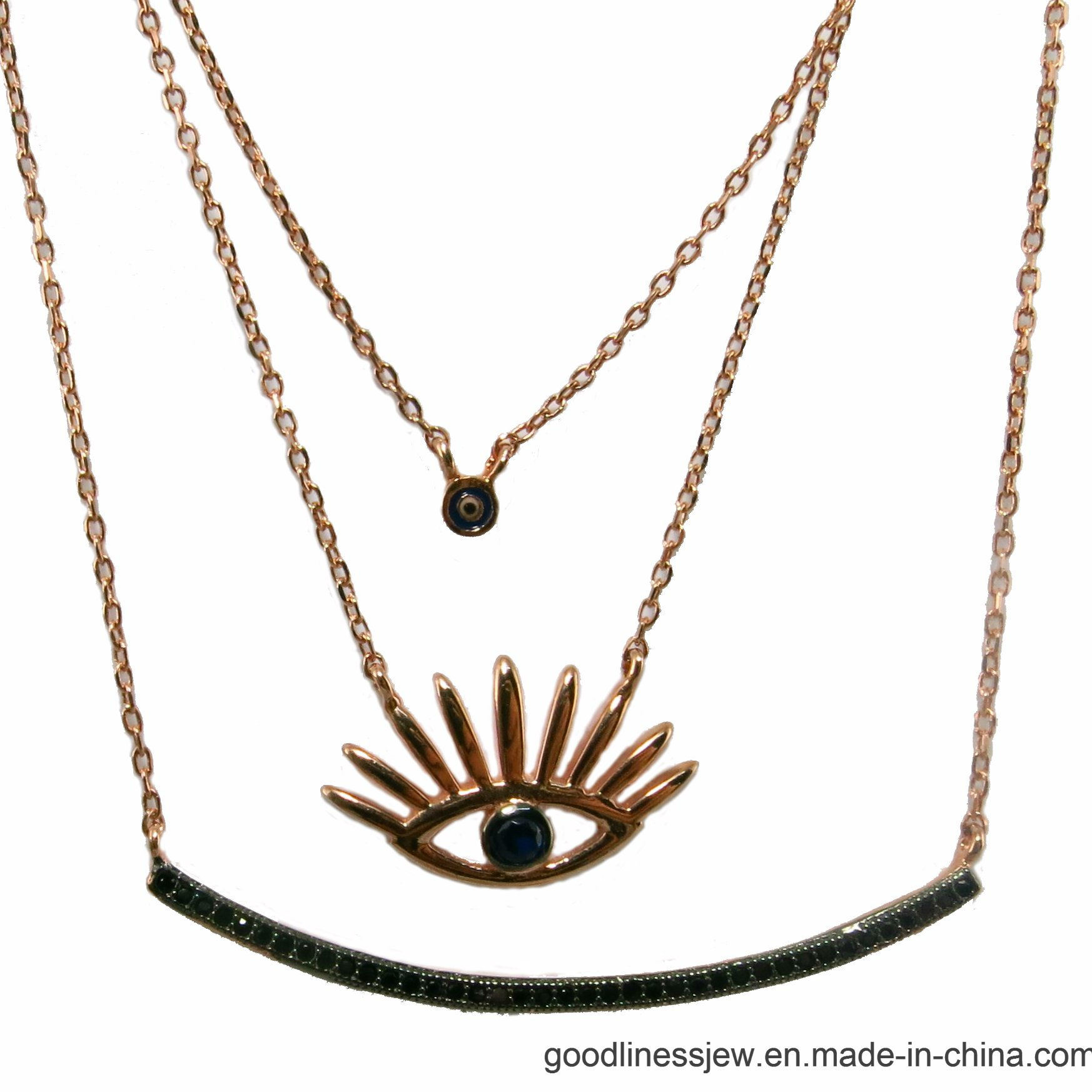 Fashion Accessories Bilayer Pendant Clavicle Necklace (N6836)
