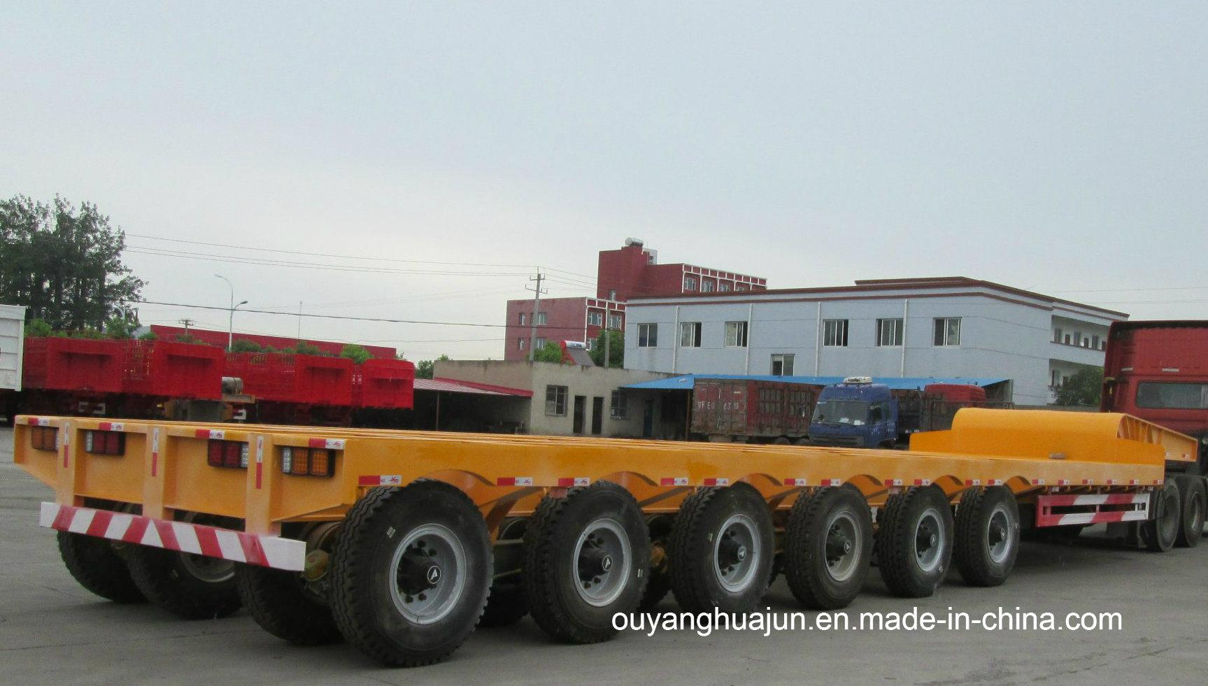 3 Axle 13 Meters Low Bed Flatbed Semitrailer