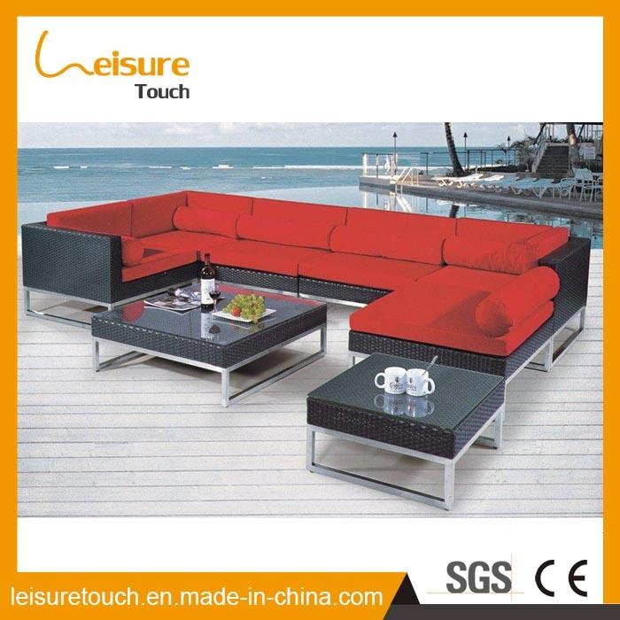 Outdoor Patio Garden Furniture PE Rattan Wicker Aluminum Corner Sofa Set