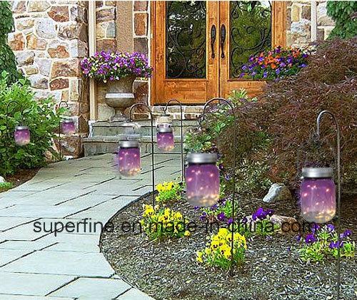 Shine Glittering Decoration Solar Transparent Jar Firefly LED Lights for Holiday