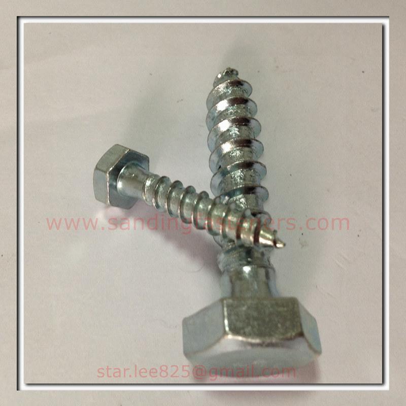 ASME B18.2.1 Carbon Steel Zinc Plated Hex Head Wood Screws