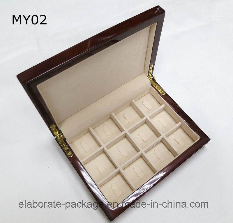 Wooden Packaging Quad Ring Box Piano Finish 12 Layers Wood Box
