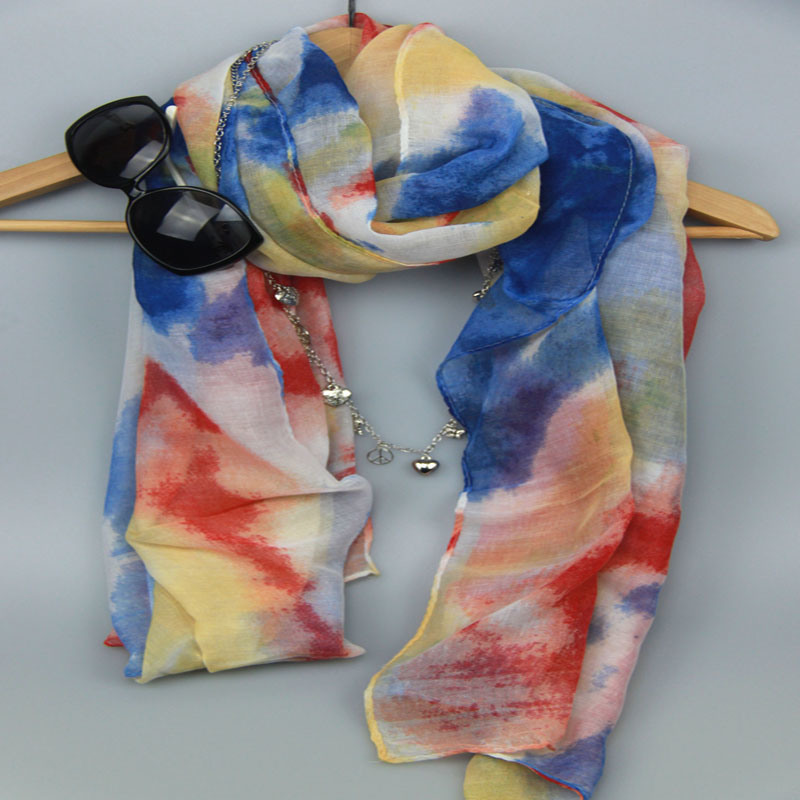 Printing Colorful Polyester Scarf for Women Fashion Accessory Shawl