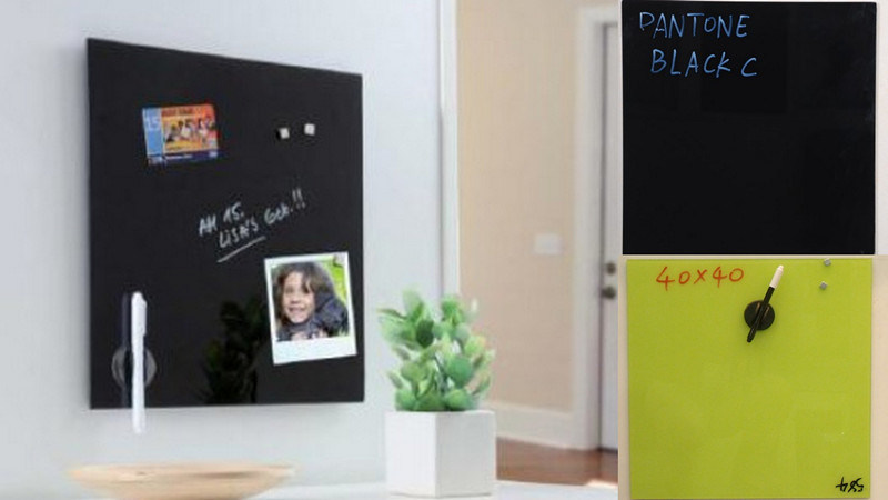 Black Frameless Wall Mounted Glass Whiteboard