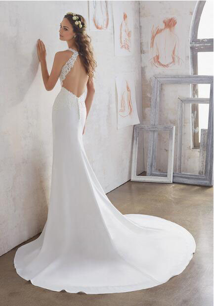 Sheath Sleeveless Keyhole Back Lace Bodice Chapel Train Wedding Bridal Dress Gown