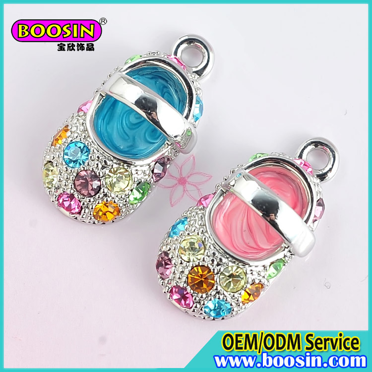 Factory Price Custom Alloy Crystal Metal Baby Shoe Charms