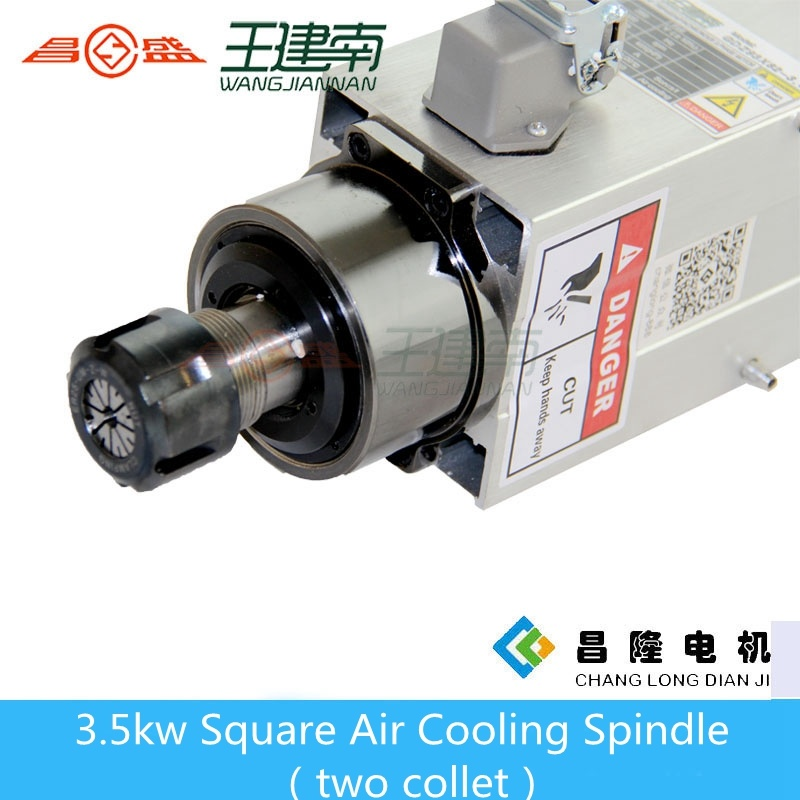 3.5kw Er25 High Speed Square Air Cooling CNC Spindle for Wood Carving with Two Head