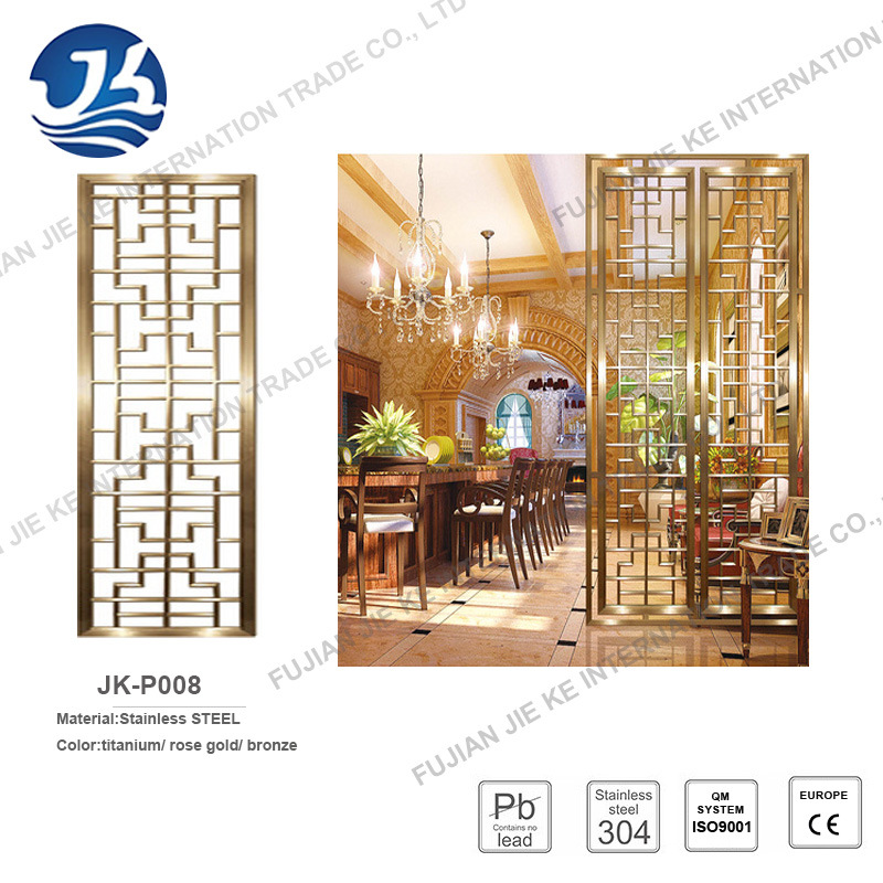 PVD Coated Color Stainless Steel Folding Room Divider Screen 8k Mirror Finish