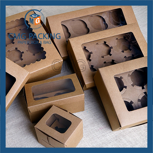 Brown Kraft Recycled Cupcake Display Box (CMG-cake box-004)