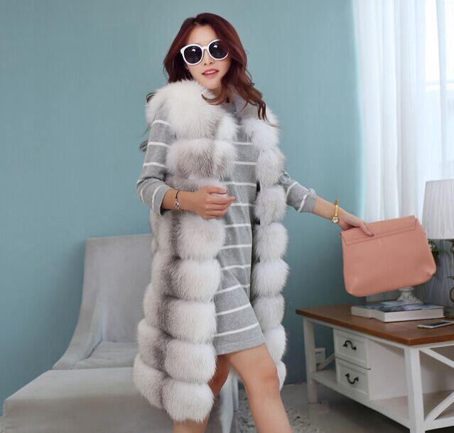 2016 Winter Real Fur Vest Genuine Fox Fur Vest