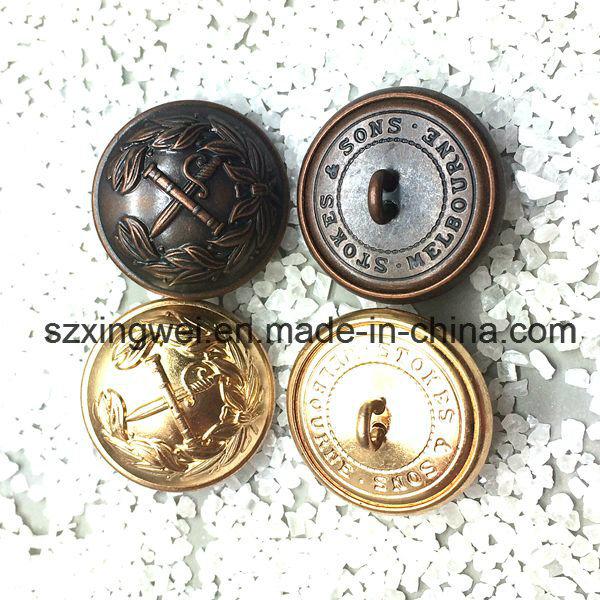 Custom Embossed Logo Vintage Style Brass Shank Button