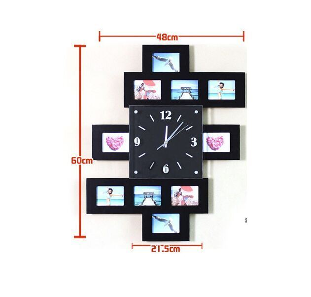 Wooden Decorative Wall Clock Creative Picture Frame Mute Electronic Clock Gifts