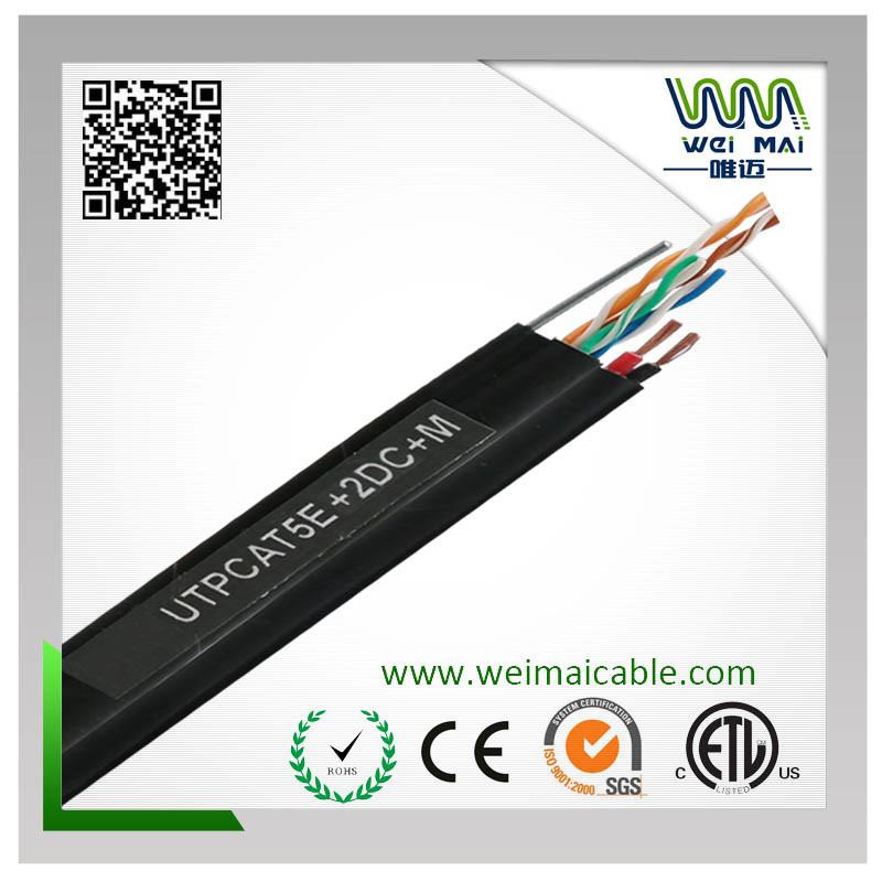 4pair 24AWG Bare Copper Messenger Cat5e UTP 2 Power LAN Cable