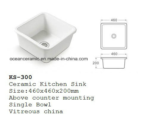 Ks-200 Ceramic Kitchen Sink, Porcelain Lavatory Sink