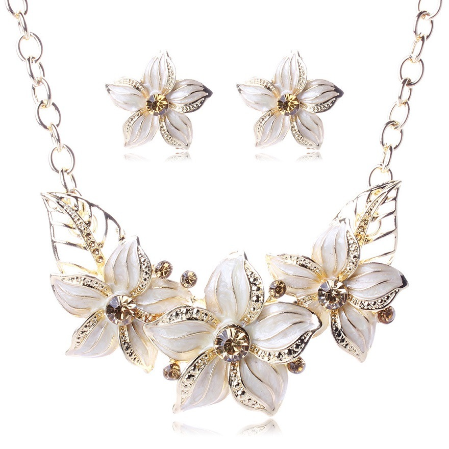 Flowers Statement Diamond Crystal Choker Necklace Earring Set Fashion Jewelry