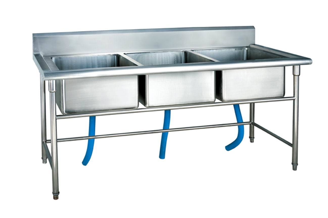 Commercial Three Sink Workbench for Kitchen
