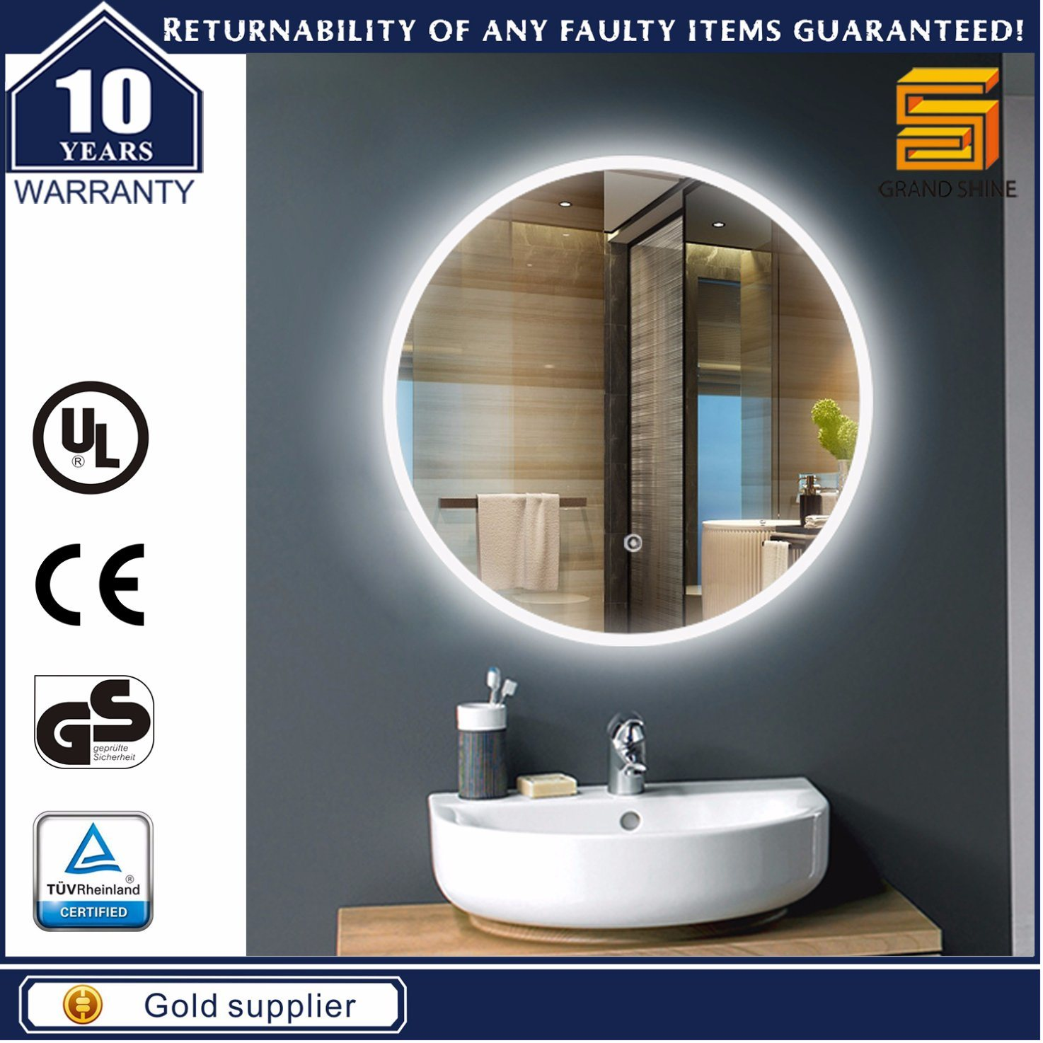 Round Aluminum Frame LED Strip Fancy Style Bathroom Mirrors