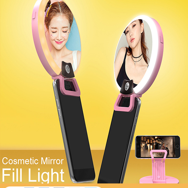 Multi-Function Rechargeable Ring LED Selfie Light with Mirror Flashlight (RK16)