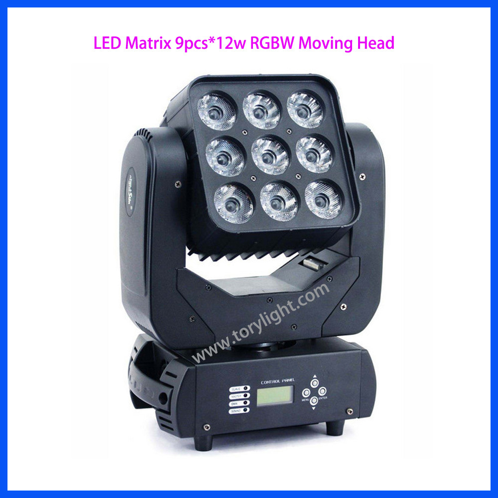 LED Bulb 9PCS*12W RGBW Matrix Moving Head Light