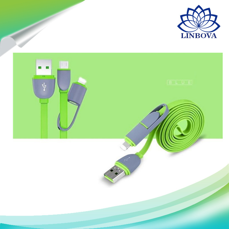 8 Pin Lightning to USB Cable with Micro USB Connector Charge and Sync for iPhone, iPad, Samsung and Android