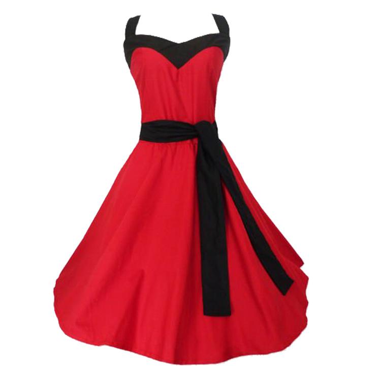 Celeb Halter Women Red Evening Rockabilly Dresses with Belt