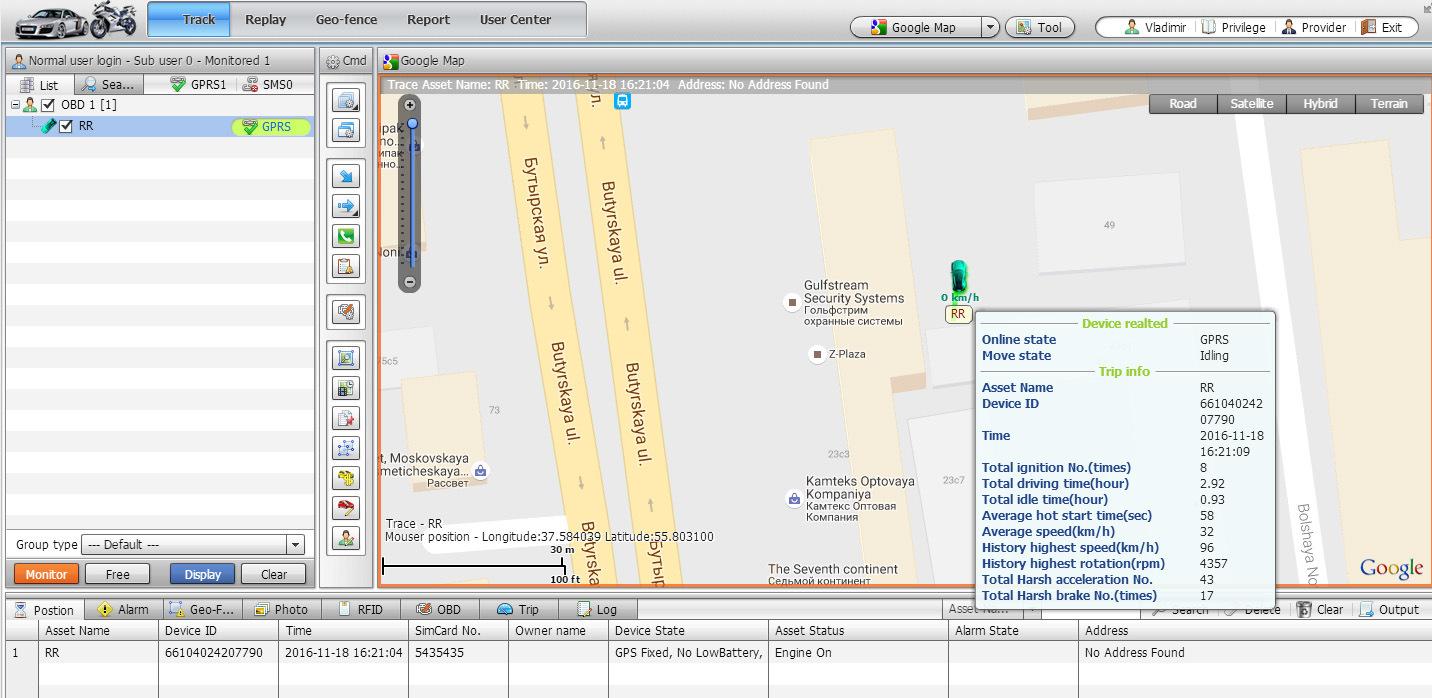 OBD Diagnostics Tracker with G Sensor and Crash Alarm (TK208S-KW)