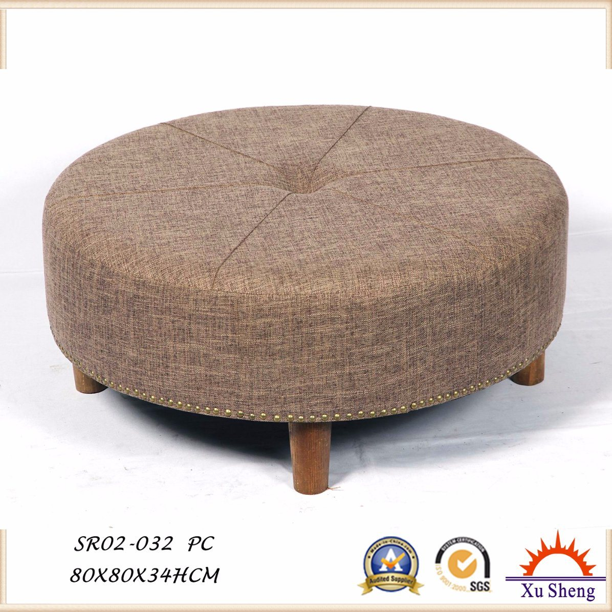 Button Tufted Round Ottoman, Coffee Table with Nailhead Trim for Living Room
