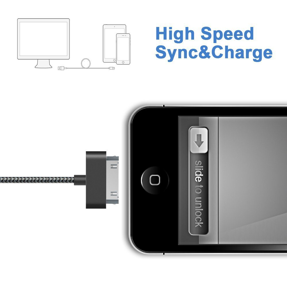 Nylon Braided 30pin USB Data Charging Cable for iPhone 4