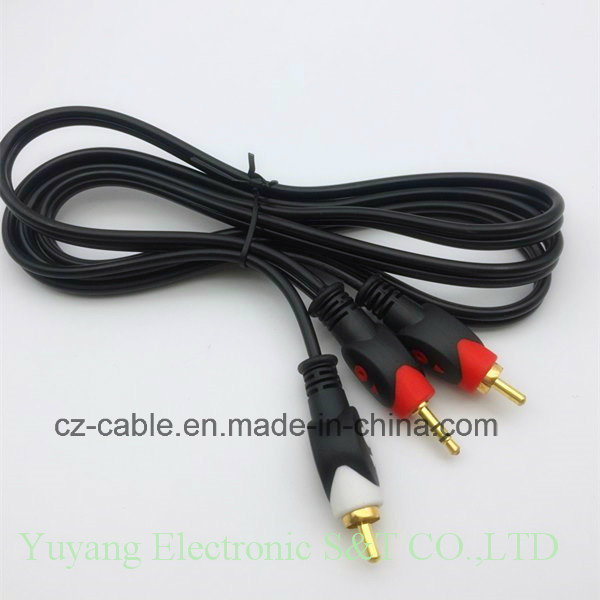 2RCA/2r Plug/Jack to 3.5mm/3.5 Stereo Plug AV/TV/DVD/VCD/Video/Audio/Media Cable (2R-3.5)