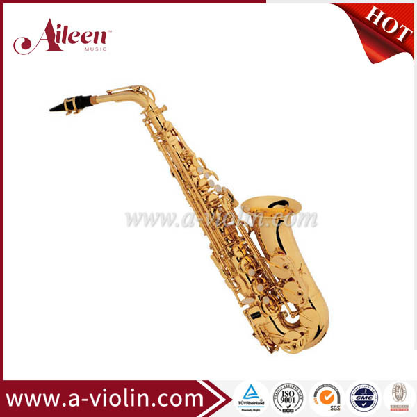 High F# Eb Key Golden Lacquer Finish Professional Alto Saxophone (SP1011G)