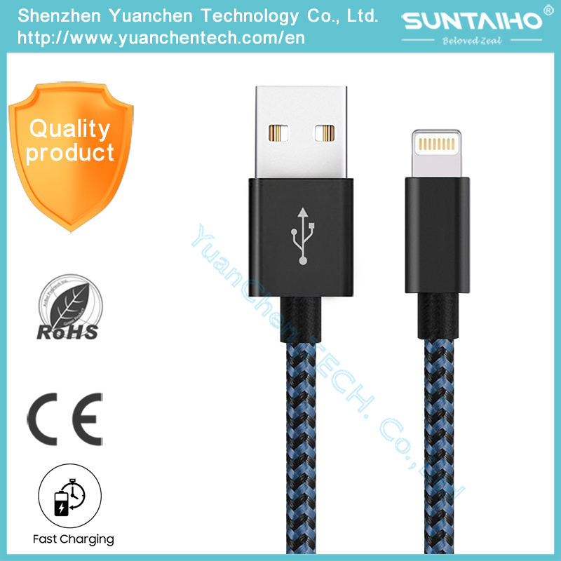 Newest Universal Braided Micro USB + 8 Pin USB Charger Data Cable for iPhone 7 7plus Ios, Android All Phones