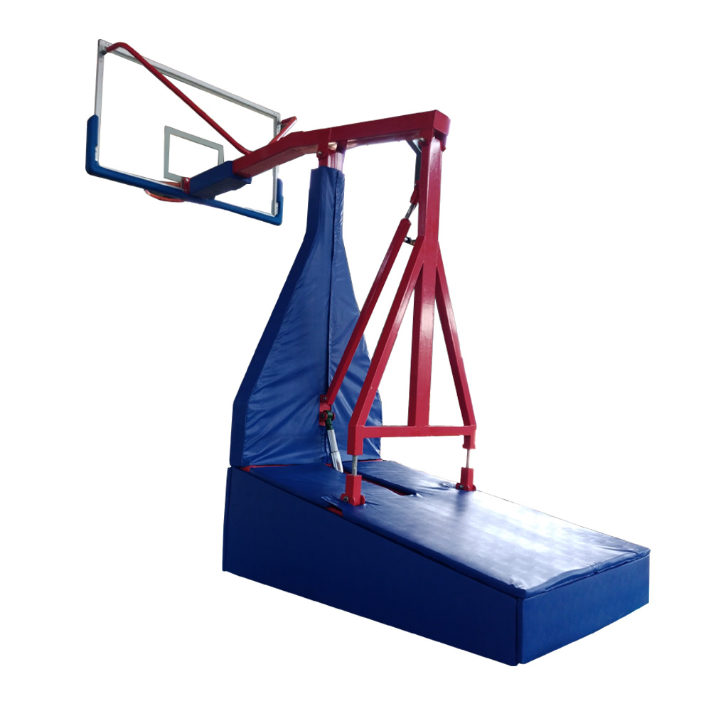 Indoor Adjustable Height Electric Hydraulic Foldable Movable Basketball Backboard  Hoop