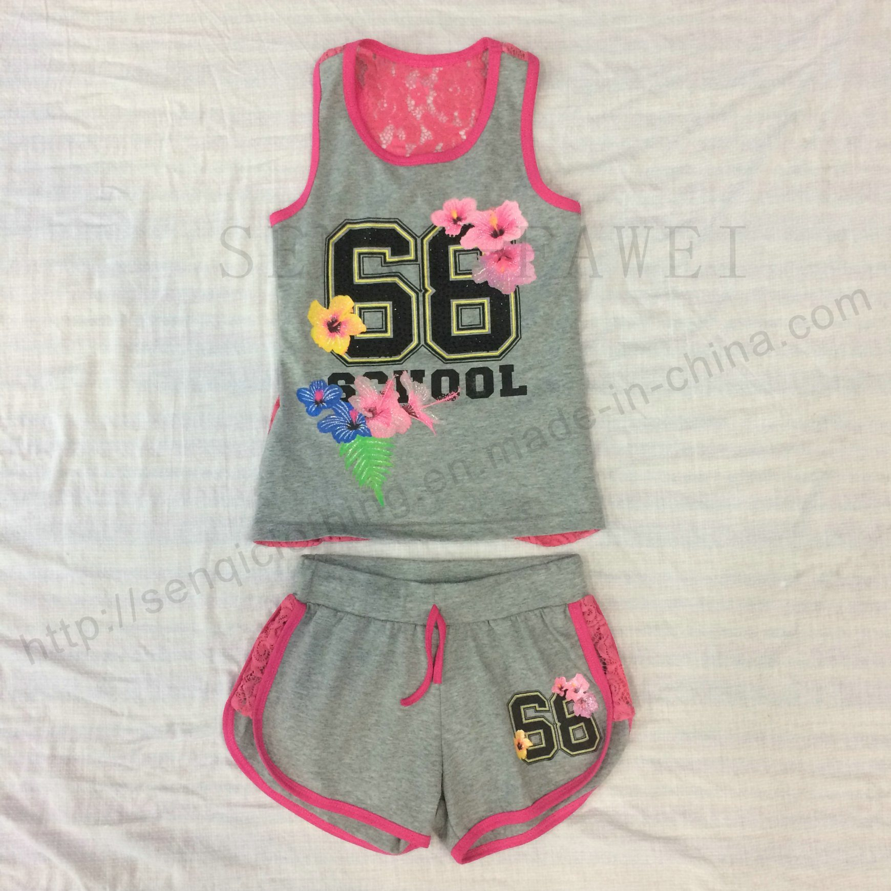 Flower Children Clothes in Kids Suit with Print in Shorts Sq-6674