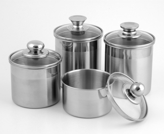 China 5 Inch Stainless Steel Canister With Glass Lid