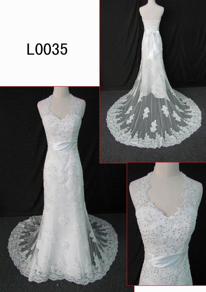 Beaded Halter Lace Bridal Dress (L0035) Guangzhou Angel Bridal Gown