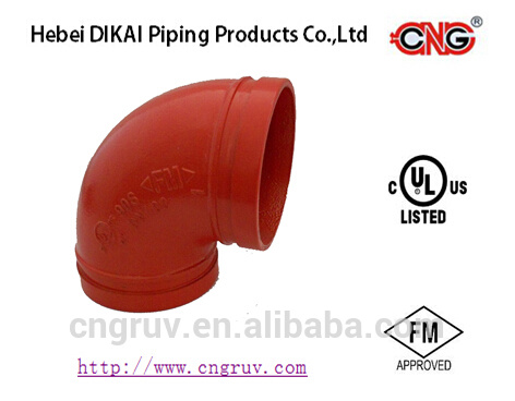 FM/ UL Approved Ductile Iron Grooved Pipe Fittings Pipe Elbow 90 Elbow