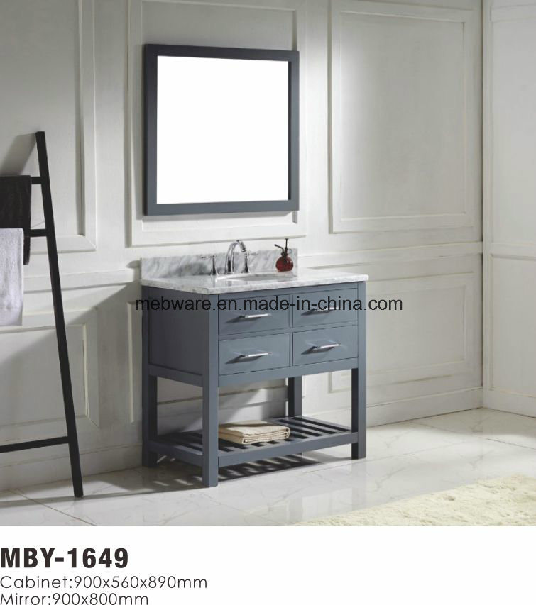 Double Sink Solid Wood Bathroom Vanity with Marble Countertop