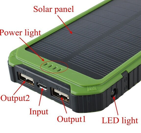 10000mAh Solar Portable Power Phone Charger for Cell Phone