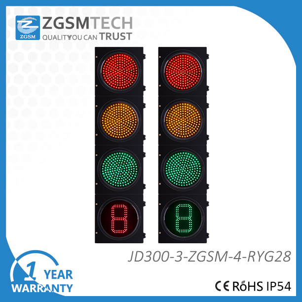 300mm 12 Inch LED Traffic Light Red Yellow Green and 1 Digital Countdown Timer