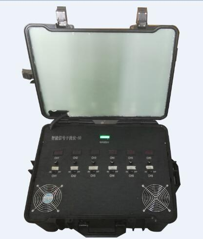 Defense Casing Portable 6CH 300W Built-in Battery and Directional Antenna Ldc Display Battery Capacity RF Signal Jammer