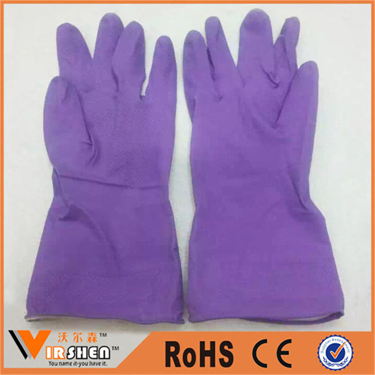Double Color Spray Flock Lined Latex Washable Working Gloves