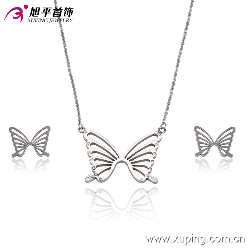 63533 Hot Sale CZ Butterfly Stainless Steel Jewelry Set