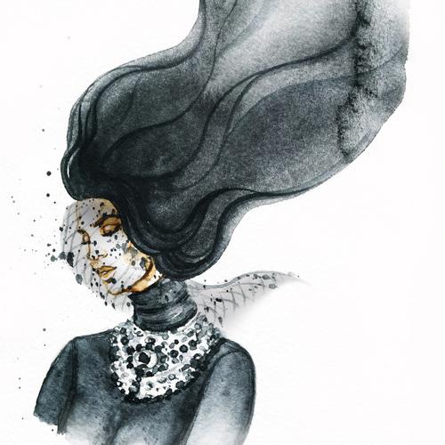 Cartoon Mask Woman Watercolor Art Print