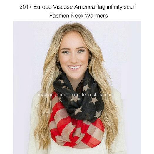 2017 Lady Fashion Infinity Scarf with America Flag Printed Neck Warmer
