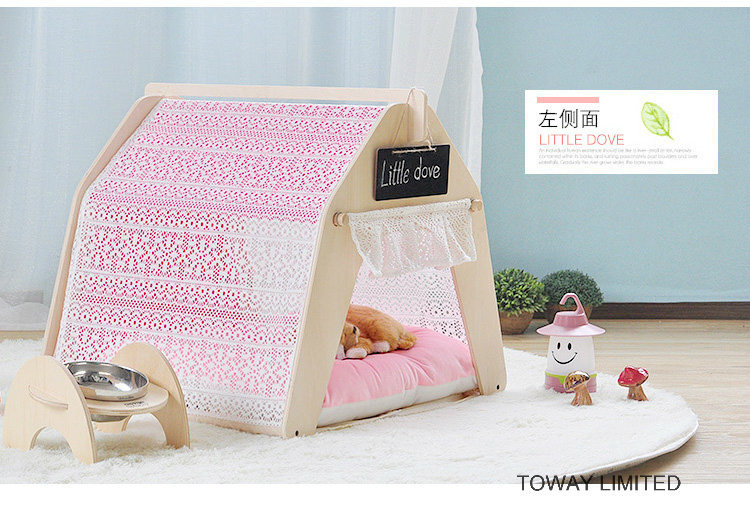 Fashion Dog Wood Tent Lace Princess Hexgon Pet House