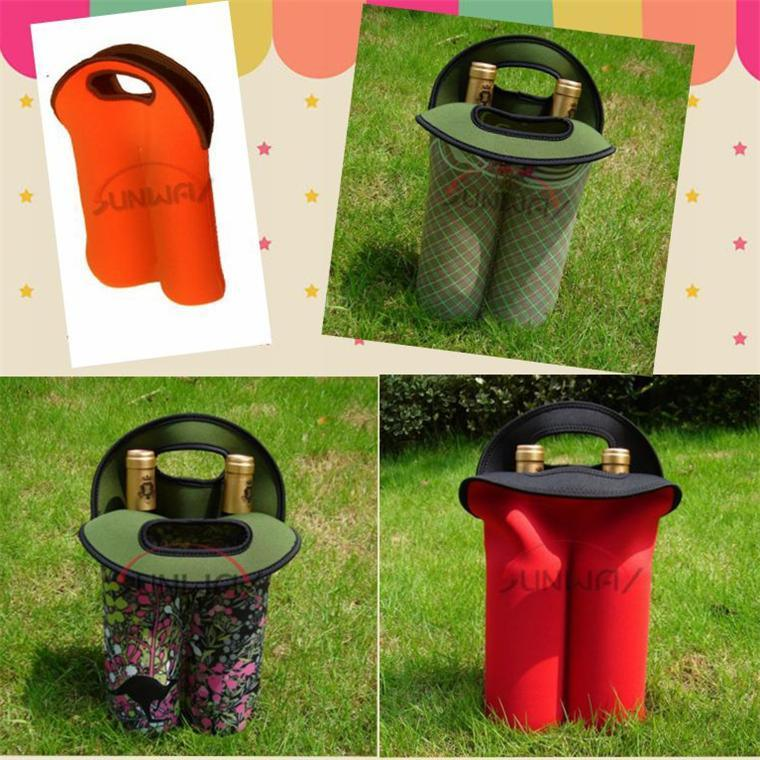 Custom Neoprene 2 Bottle Wine Tote Bag, Insulated Bottle Carrier (BC0049)