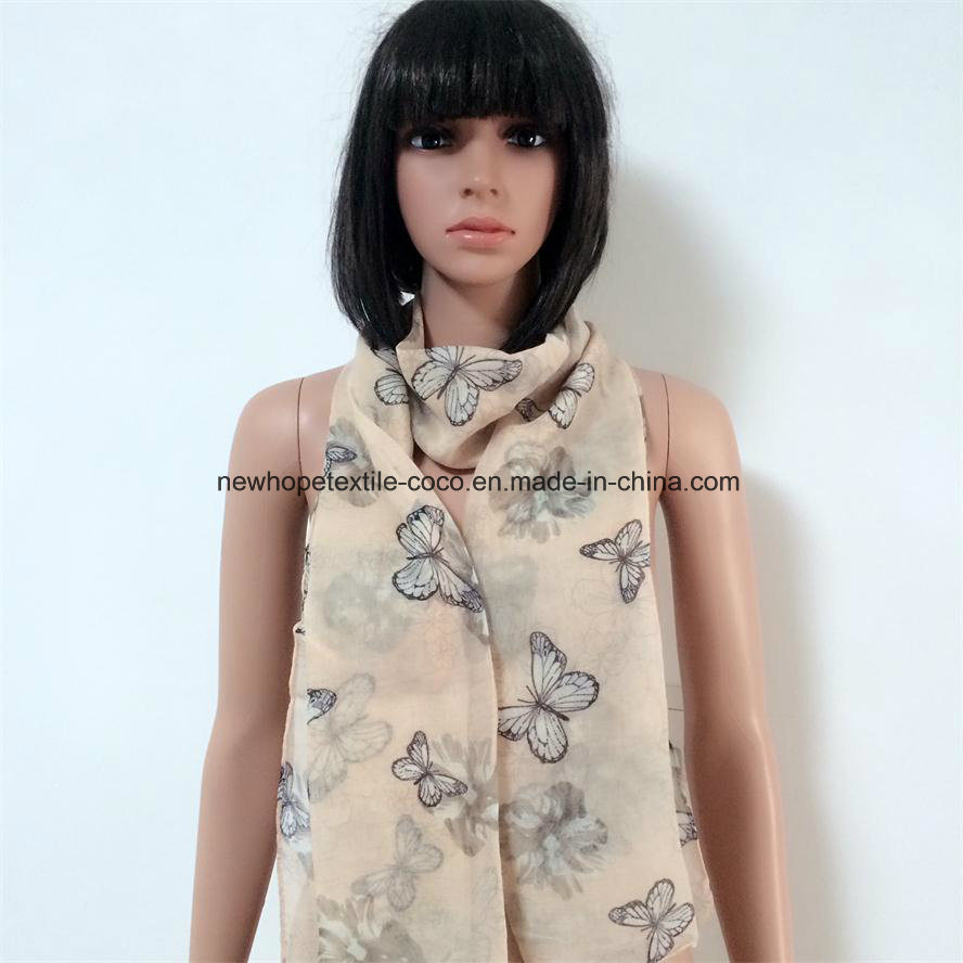 100% Polyester, Voile Material Multifunctional Scarf with Bowknot Printing