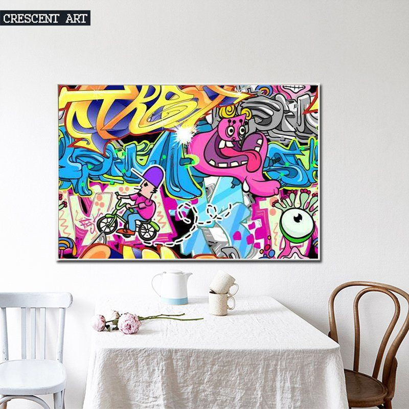 2017 New Comic Cartoon Wall Art for Home Decor Oil Painting