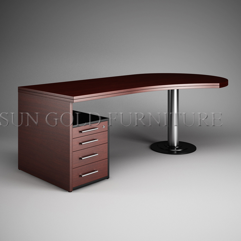 China Round Office Desk, Brown Office Table, Melamined Executive Table